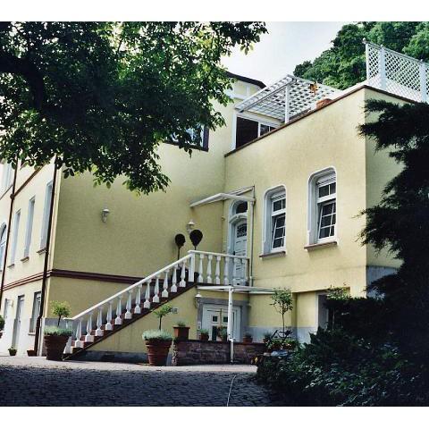 Renovierte Villa in Neckargemünd: Treppenabgang mit Balustrade